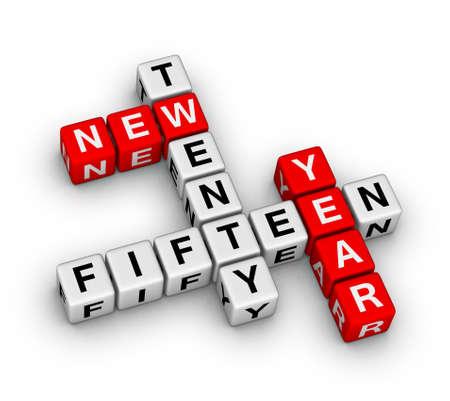 fifteen: twenty fifteen new year crossword puzzle Stock Photo