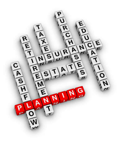 estate planning: personal financial planning crossword puzzle Stock Photo