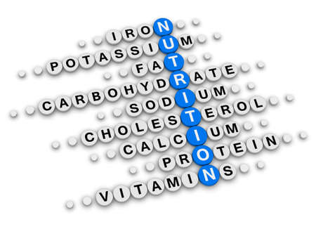 facts: nutrition facts concept crossword puzzle Stock Photo