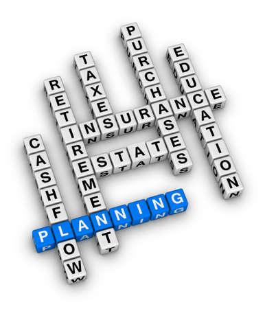 persoonlijke financiële planning kruiswoordpuzzel Stockfoto