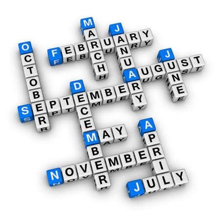 meses del año: meses del año rompecabezas crucigrama