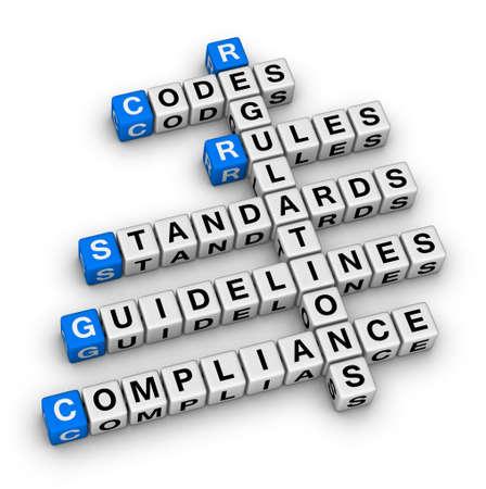 compliance crossword puzzle Standard-Bild
