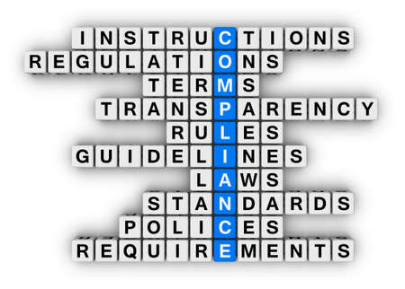 regulation: compliance crossword puzzle Stock Photo