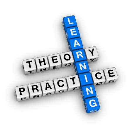 学習の理論と実践のクロスワード パズル 写真素材