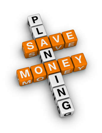 financial advisors: save money planning crossword puzzle Stock Photo