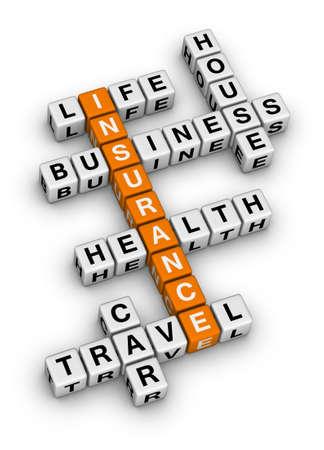 estate planning: insurance cubes crossword puzzle Stock Photo