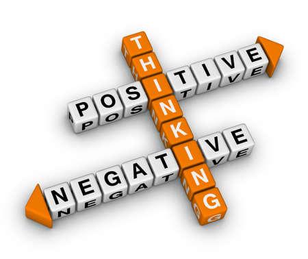 negative thinking: la pens�e positive et n�gative (orange-blanc s�rie de mots crois�s) Banque d'images