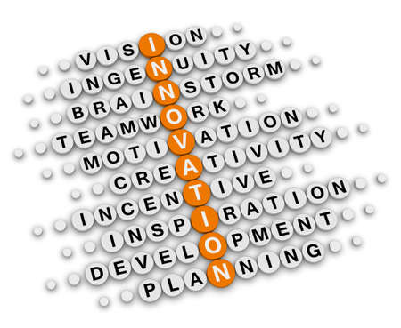 innovation concept (orange-white crossword puzzles series) photo