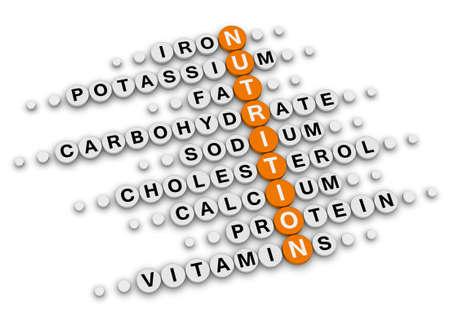 nutrition facts concept (orange-white crossword puzzles series) photo