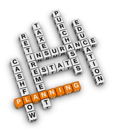 planificacion familiar: planificación financiera personal (naranja-blanco serie de crucigramas) Foto de archivo
