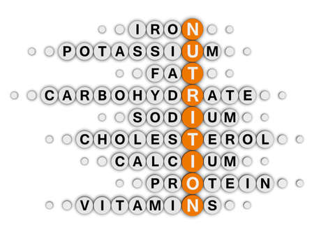 nutritional: nutrition facts concept crossword puzzle Stock Photo