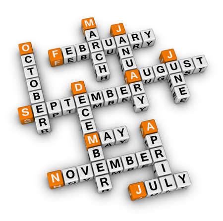 meses del año: meses del año (naranja-blanco serie de crucigramas)