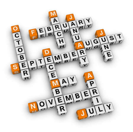 months of the year: months of the year (orange-white crossword puzzles series)