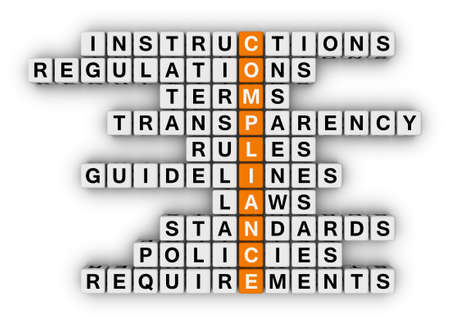 block letters: compliance crossword puzzle Stock Photo