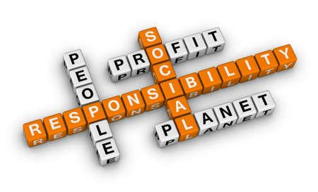responsabilidad: responsabilidad social (serie de crucigramas de color naranja-blanco) Foto de archivo