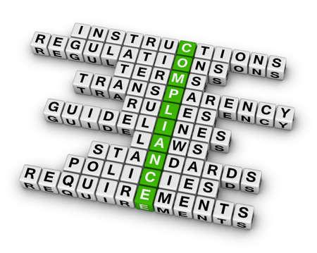 compliance crossword puzzle Foto de archivo