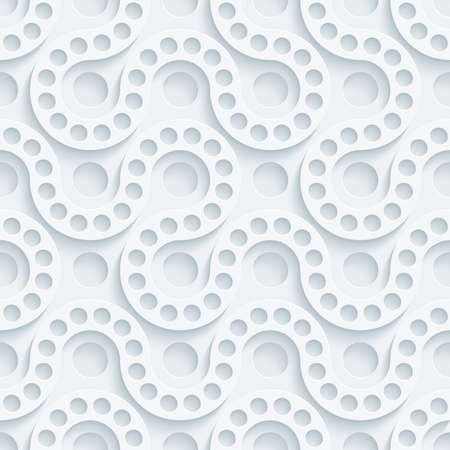White perforated paper with cut out effect. Abstract 3d seamless background. Vector EPS10. Vector