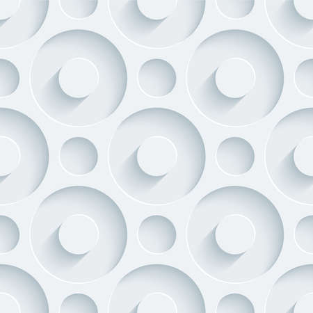 White perforated paper with cut out effect. Abstract 3d seamless background. Vector EPS10. Çizim