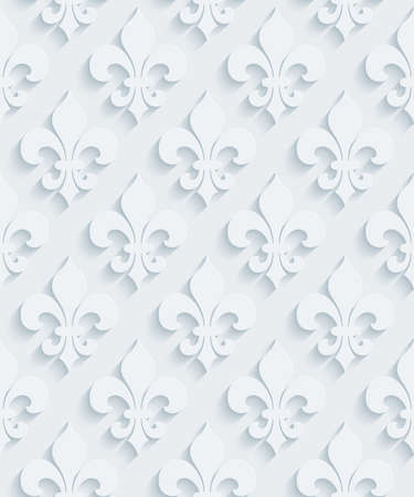 lis: White perforated paper with cut out effect. Abstract 3d seamless background.