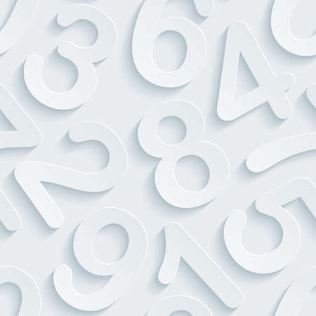 numbers background: White perforated paper with cut out effect. Abstract 3d seamless background.