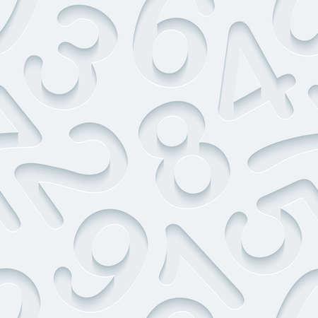 nombres: Papier perfor� blanc avec effet coup�. 3d abstrait de fond sans soudure.