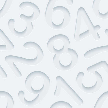 numbers abstract: White perforated paper with cut out effect. Abstract 3d seamless background.  Illustration
