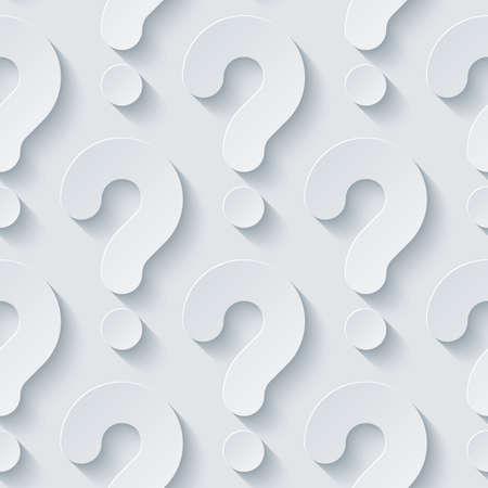 punto interrogativo: Carta perforata bianco con effetto tagliato fuori. Abstract 3d sfondo trasparente. Vector EPS10.