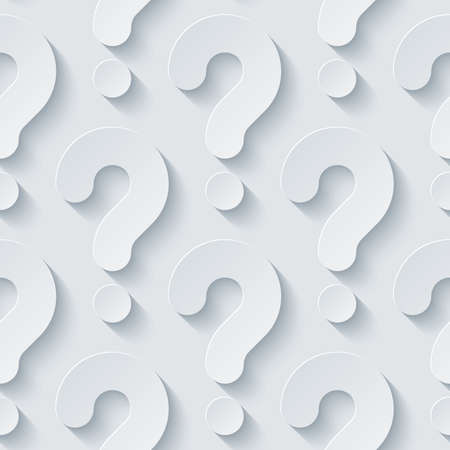 question concept: White perforated paper with cut out effect. Abstract 3d seamless background. Vector EPS10. Illustration