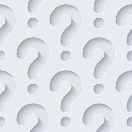 signo de interrogacion: Papel perforado blanco con efecto cortado. Resumen 3d de fondo sin fisuras.