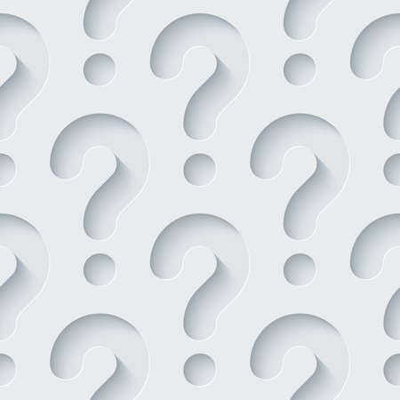 question marks: White perforated paper with cut out effect. Abstract 3d seamless background.