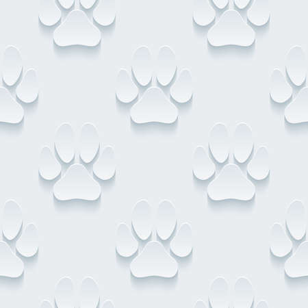 petshop: White perforated paper with cut out effect. Abstract 3d seamless background.  Illustration