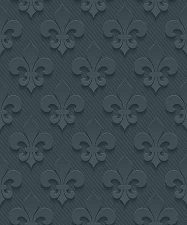fleur de lis: Dark perforated paper with cut out effect. Abstract 3d seamless background. Vector EPS10.