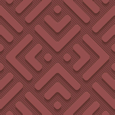 Marsala color perforated paper with cut out effect. Abstract 3d seamless background.