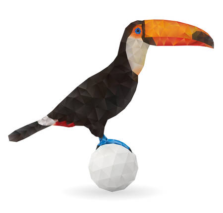 tucan: Cute Toucan Sitting on a Ball. Vector Illustration on Low Poly Style