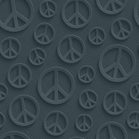 perforated: Dark perforated paper with cut out effect. 3d peace simbol seamless background.