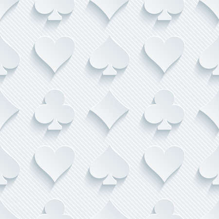 card suits: Light perforated paper with cut out effect. 3d card symbol seamless background.