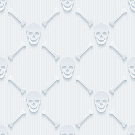 perforated: Light perforated paper with cut out effect. 3d skulls and bones seamless background.