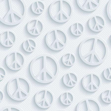 simbolo de la paz: Papel perforado de luz con efecto cortado. 3d símbolo de paz de fondo sin fisuras.
