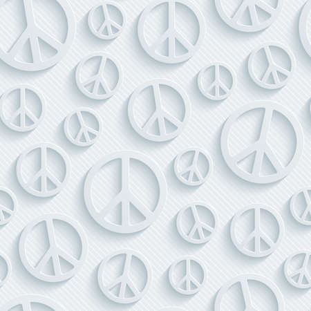 Light perforated paper with cut out effect. 3d peace simbol seamless background.