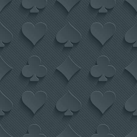 Dark perforated paper with cut out effect. 3d card symbol seamless background.