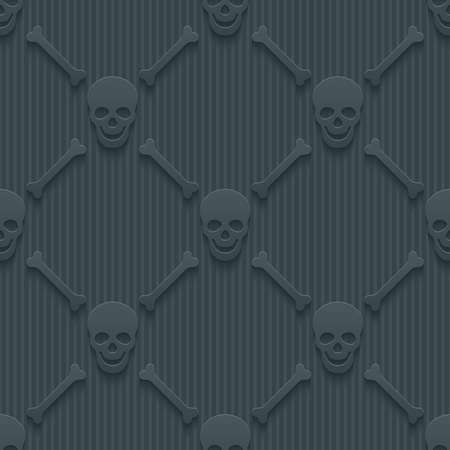 Dark perforated paper with cut out effect. 3d skulls and bones seamless background. Vector