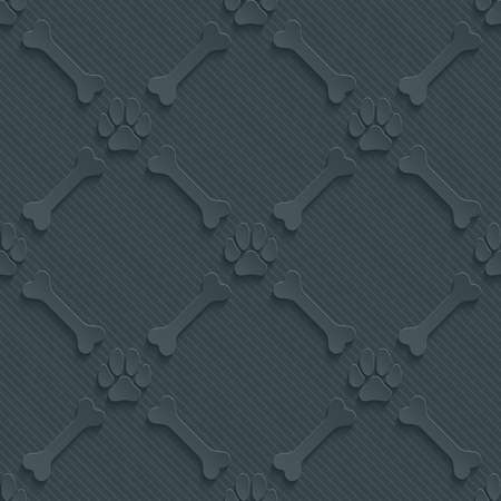 Dark perforated paper with cut out effect. Paws print and bones 3d seamless background. Vector