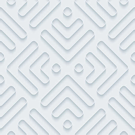 edge design: White paper with outline extrude effect. Abstract 3d seamless background. Illustration