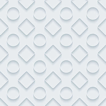 embossed paper: White paper with outline extrude effect. Abstract 3d seamless background. Illustration