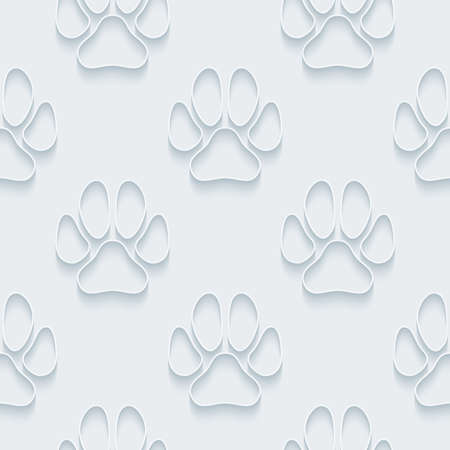 petshop: White paper with outline extrude effect. Abstract 3d seamless background. Illustration