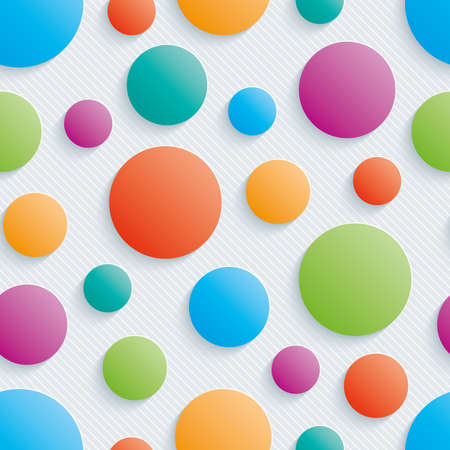 Colorful circles walpaper. 3d seamless background. Vectores