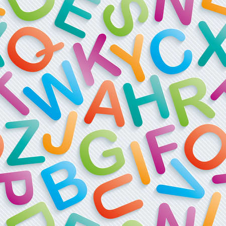 Colorful alphabet wallpaper. Seamless background with 3D effect. Vector EPS10. Vector