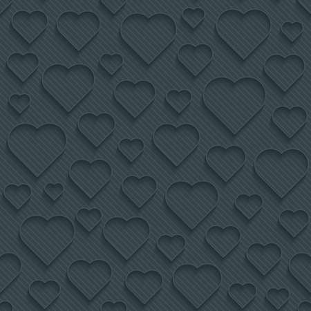 Dark perforated paper with outline extrude effect. 3d seamless wallpaper. Vector background EPS10. Ilustrace