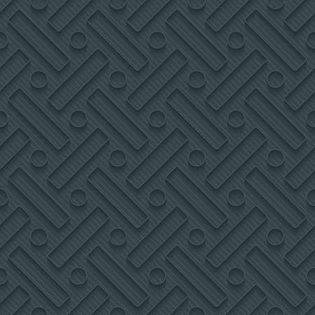 rounded: Dark perforated paper with outline extrude effect. 3d seamless wallpaper. Vector background EPS10. Illustration
