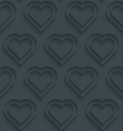 Dark perforated paper with outline extrude effect. 3d seamless wallpaper. Vector background Vector